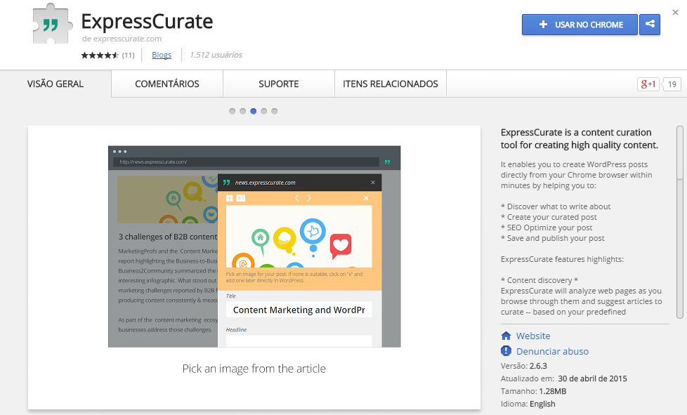 expresscurate-wordpress-chrome