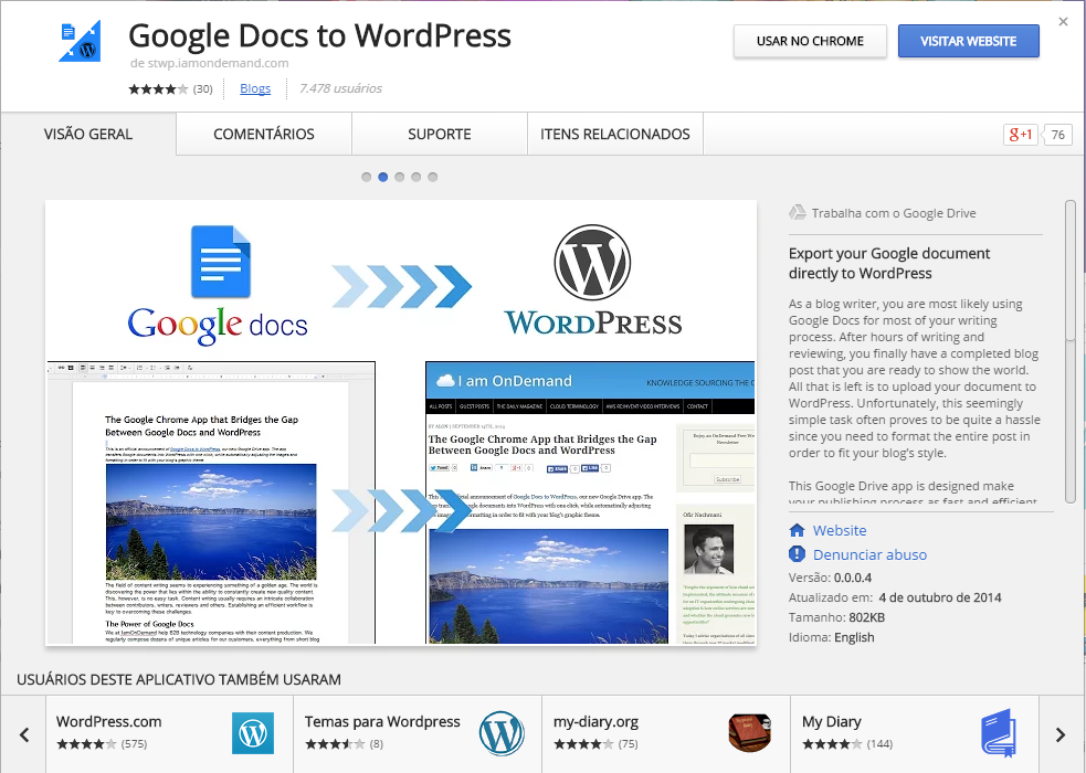 Google Docs para WordPress no Chrome