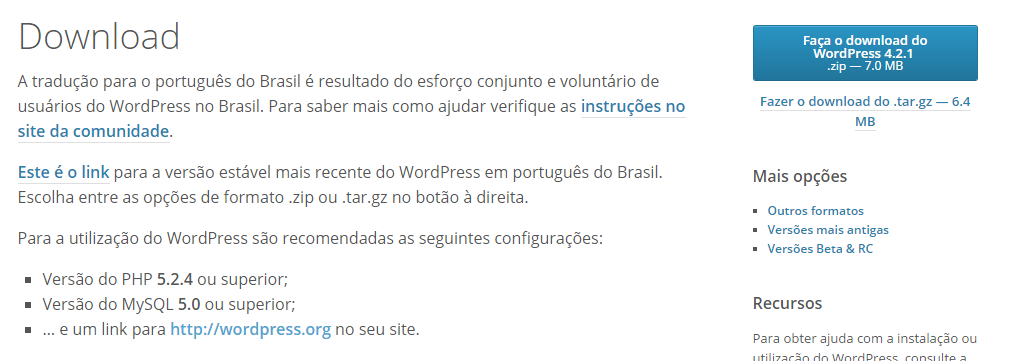Botão de Download no WordPress.org