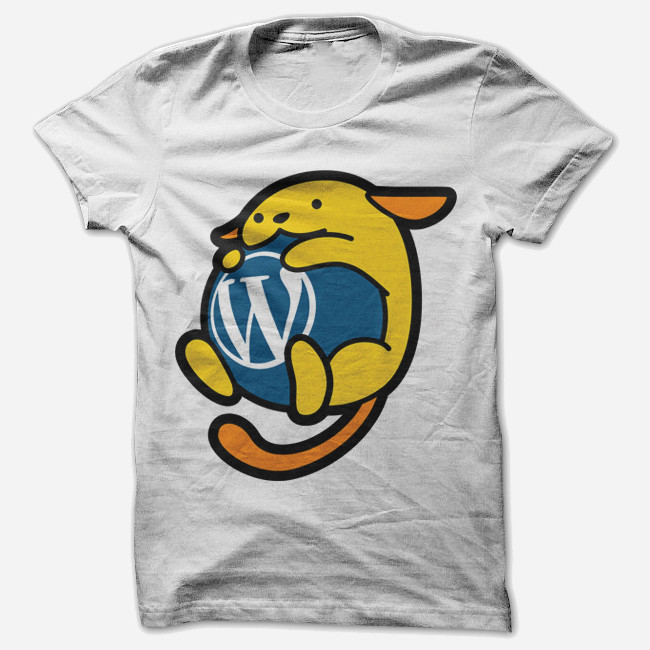 Camiseta vendida na Swag Store do WordPress